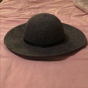 Accessories - Gray Wide brim wool floppy hat
